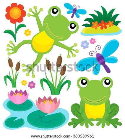Frog thematic set 1 - eps10 vector illustration.