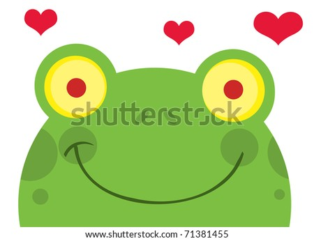 Frog With Hearts - stock vector