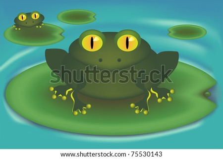 frogs on lily leaves