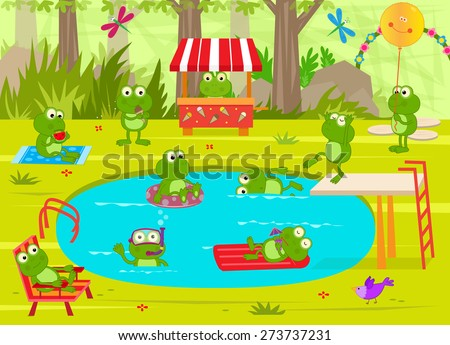 Frogs Pool Party - Cute frogs are having fun at the pool. Eps10 - stock vector