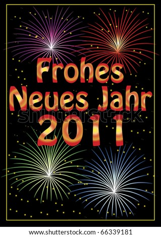 Frohes Neues Jahr 2011 greeting colorful card with fireworks