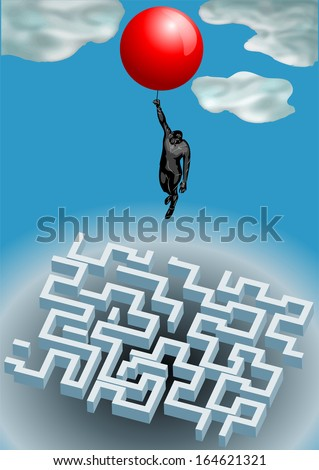 from above. man soared above the maze - stock vector