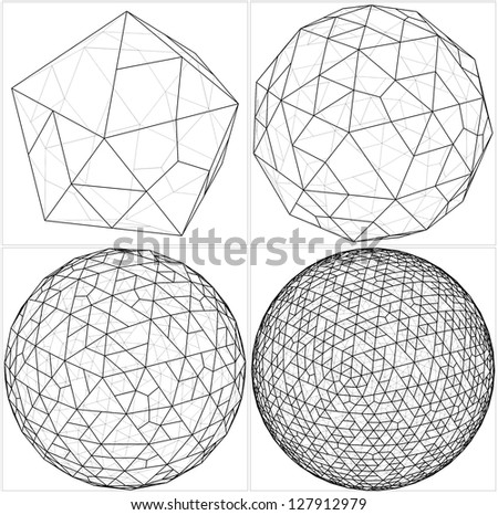 From Icosahedron To The Ball Sphere Lines Vector - stock vector