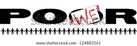 from poor to power - make the difference - revolt concept - stock vector