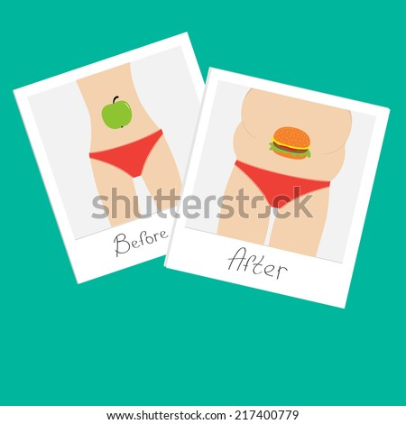 From skinny to fat woman. Healthy unhealthy food apple hamburger Before after instant photo. Flat design. Vector illustration - stock vector