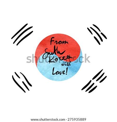 From South Korea with love. Hand written lettering phrase on the sketch background illustrating korean flag. Vector illustration. - stock vector
