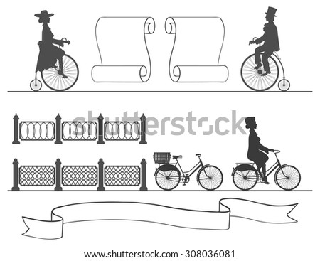 from the ancient to the modern bicycle without changing habits vintage and modern bikes on a white background next to the fences and ribbons - stock vector