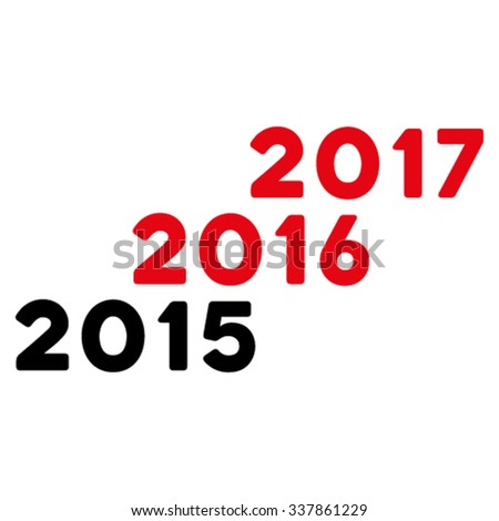 From 2016 To 2017 Years vector icon. Style is bicolor flat symbol, intensive red and black colors, rounded angles, white background.