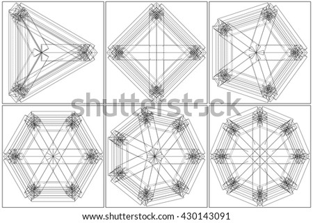 From Triangle To The Octagon Structure Vector  - stock vector
