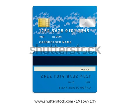 Front and back credit card on white background - stock vector