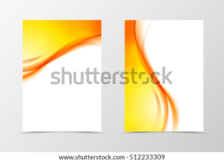Front and back dynamic wave flyer template design. Abstract template with orange lines in smooth soft style. Vector illustration
