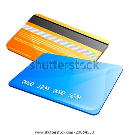 Front and back of abstract colorful credit cards - stock vector