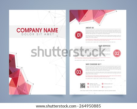 Front and back page presentation of a professional flyer, template or brochure for corporate sector. - stock vector