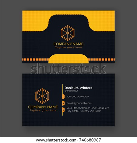 Front back view business card yellow stock vector 740680987 front and back view of business card in yellow and black color combination colourmoves