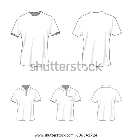 Front And Back View Of Clothing Set. Blank Wear Templates. T Shirt And