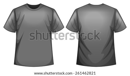 Front and back view of grey shirt - stock vector