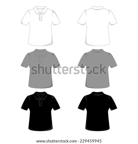 Front and back views of a polo-shirt - stock vector
