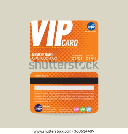 Front And Back VIP Member Card Template Vector Illustration  Membership Cards Templates