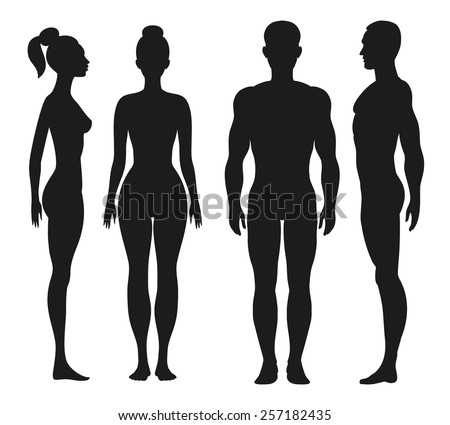 Front and side view silhouettes of man and woman. Face and profile human. Vector illustration, isolated on white background - stock vector