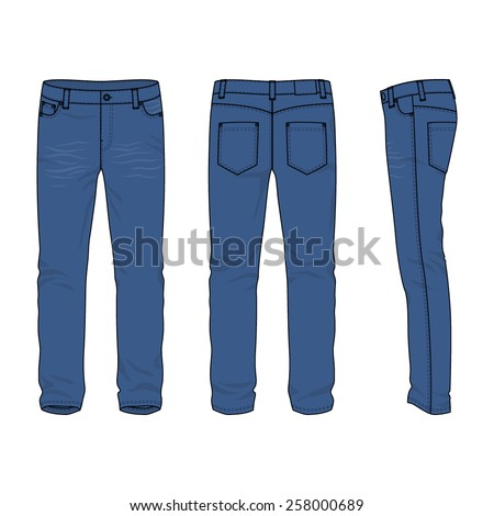 Front, back and side views of blank men's jeans. Vector illustration. Isolated on white. Casual style. Vector illustration for your fashion design.  - stock vector