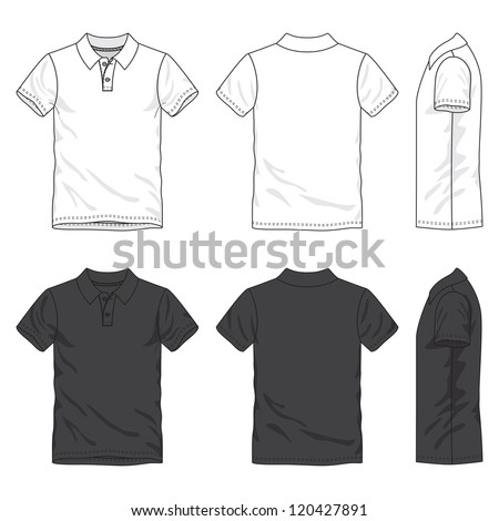 Front, back and side views of blank polo shirt - stock vector