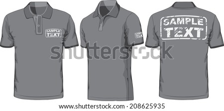 Front, back and side views of blank polo-shirt. Vector illustration. Color redact easy. - stock vector