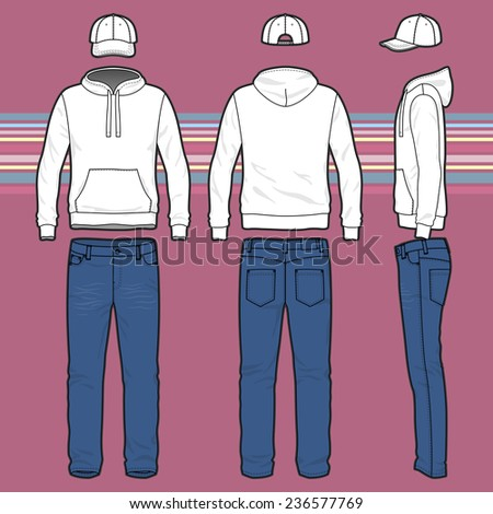 Front, back and side views of men's clothing set. Blank templates of hoodie, cap and jeans.  Casual style. Vector illustration on the striped background for your fashion design.  - stock vector