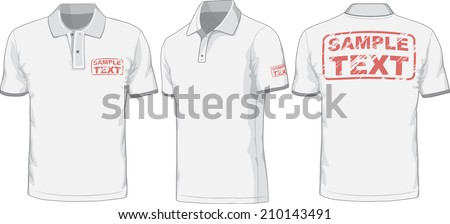 Front, back and side views of polo-shirt. Vector  illustration. Color redact easy. - stock vector