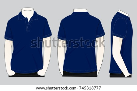 front back side navy blue polo stock vector 745318777