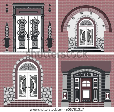 Front Doors Of Houses Various Designs On Brick Wall Background