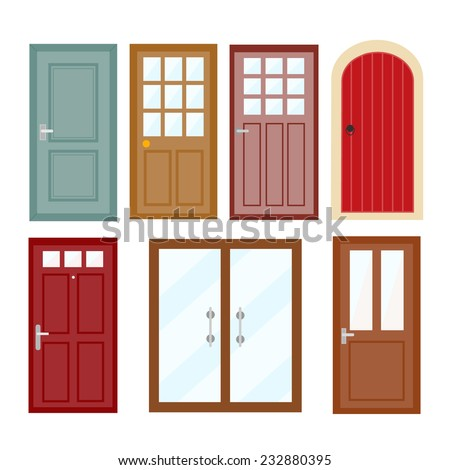 Front doors to houses and buildings set , vector illustration - stock vector