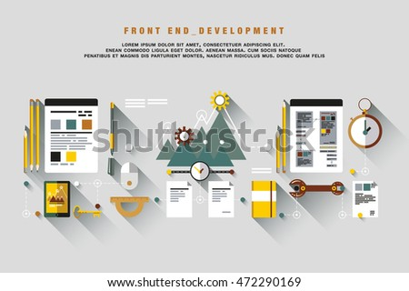 Front end development of application programming, client web software and testing. Flat, line design graphic image concept, website elements layout, one page web design template with thin line icons.