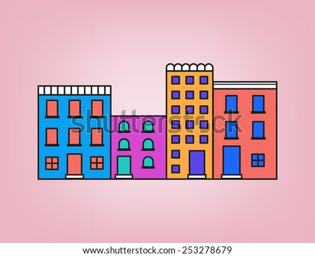 Front of colorful small town in pink tone - stock vector