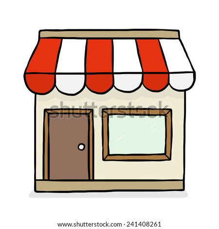 front of shop store / cartoon vector and illustration, hand drawn style, isolated on white background. - stock vector