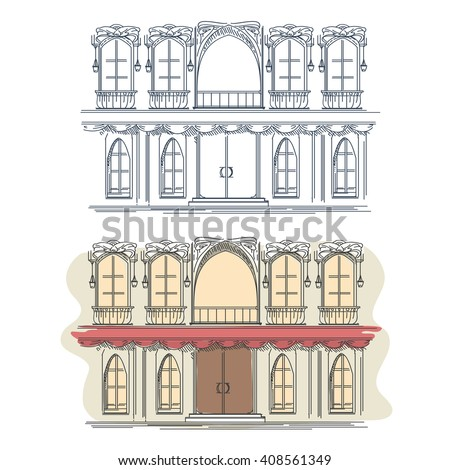 Front of the house in french retro style. Architecture house front building facade front, french house front, street house front. Vector illustration - stock vector