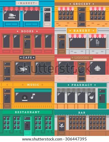 Front shop facade set illustration vector - stock vector