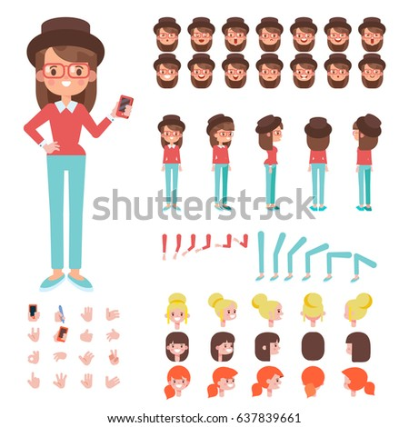 Front Side Back View Animated Character Stock Vector 11 ...
