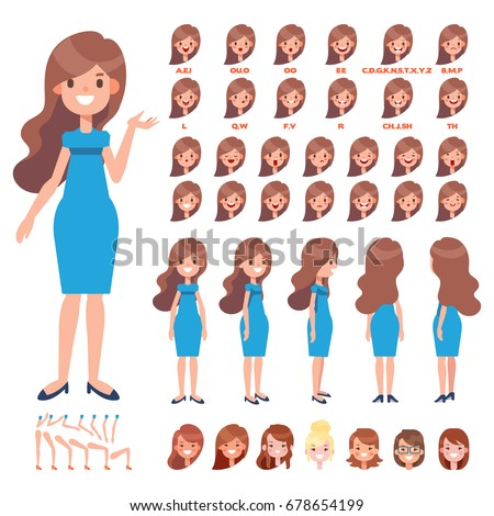 animated hair styles emotions faces stock images royalty free images amp vectors 8468 | stock vector front side back view animated character long hair woman in dress creation set with various views 678654199
