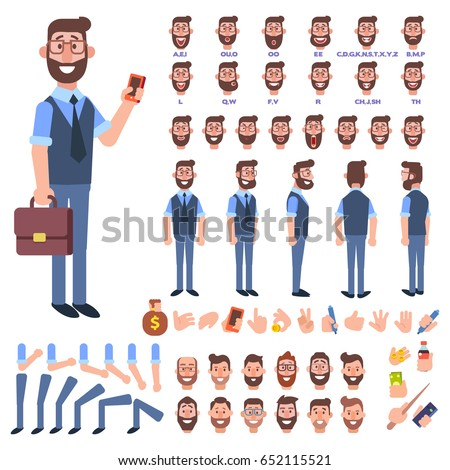 Front, side, back view animated character. Manager character creation set with various views, hairstyles, face emotions, poses and gestures. Cartoon style, flat vector illustration.