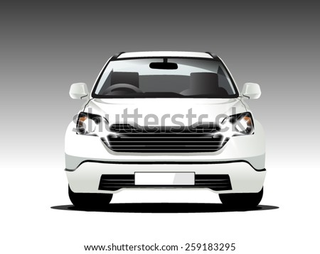 front suv car white, vector template - stock vector