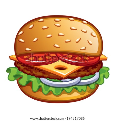 front view burger - stock vector