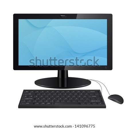 Front view of a realistic computer monitor with keyboard and mouse. Vector illustration isolated on white background. - stock vector