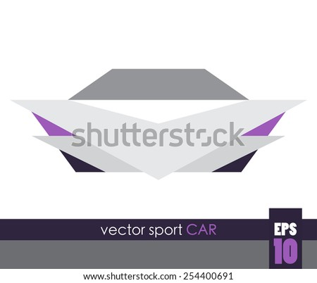 Front view of a sport car, geometric vector - stock vector