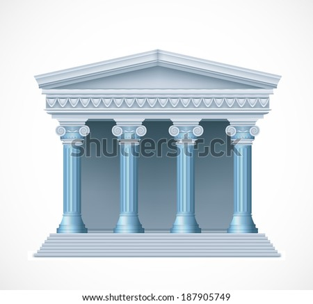 Front view of an antique greek blue temple. Vector illustration - stock vector