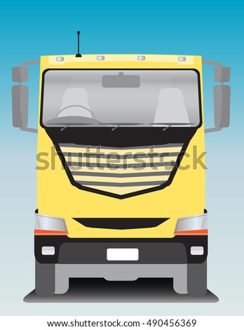 Front view of BIg Cargo truck Vector Illustration