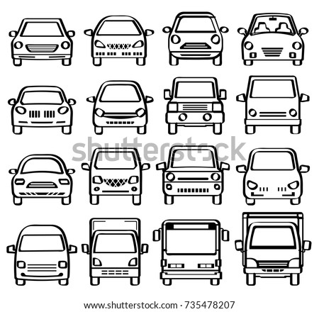Front View Cars Line Drawing Like Stock Vector 735478207 - Shutterstock