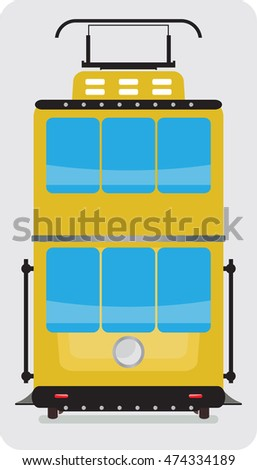 Front view of Double Deck Retro Tram car or trolley car flat design Vector Illustration