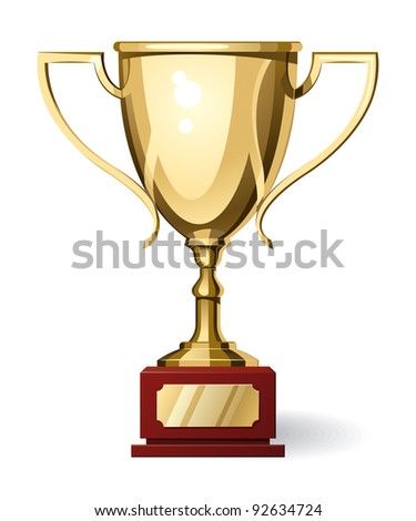 Front View of Gold Sport Cup on White Background. Vector Illustration