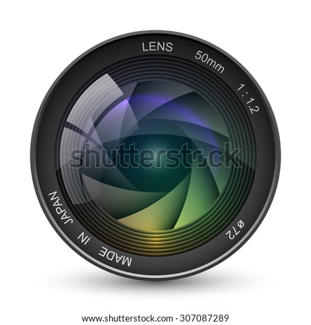 Front view of photo camera lens vector illustration isolated on white background.  - stock vector