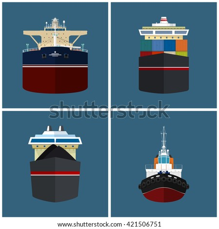 Front View of the Vessel, Cargo Container Ship, Oil Tanker, Dry Cargo Ship, Tugboat,   International Freight Transportation, Vessel for the Transportation of Goods,  Vector Illustration - stock vector